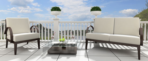 Cojin respaldo acolchado impermeable sill n exterior a for Sofa exterior a medida
