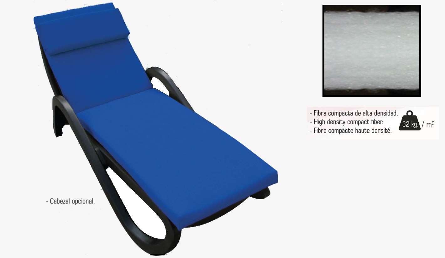 Cojin tumbona textilene de 2 medidas: 187x55cm; 192x60cm