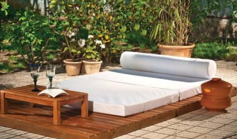Coj n cama de jard n exterior impermeable colchoneta con tela impermeable cojines de exterior - Muebles exterior tela nautica ...